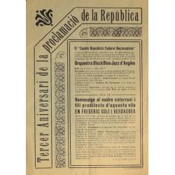 TERCER ANIVERSARI DE LA PROCLAMACIO DE LA REPUBLICA