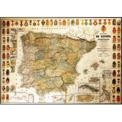 NUEVO MAPA DE ESPAÑA Y PORTUGAL Y DE SUS COLONIAS. ILUSTRADO CON LAS 49 ESCUDOS DE SUS PROVINCIAS...