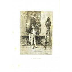 DIBUJO A PLUMA DE FORTUNY. GRABADO POR M. SEGUI