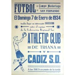 FUTBOL CAMPO MADARIAGA SAN FERNANDO. ATHLETIC CLUB DE TRIANA-CADIZ 1934