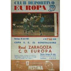 CLUB DEPORTIVO EUROPA. REAL ZARAGOZA - C.D. EUROPA. 1967