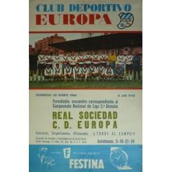 CLUB DEPORTIVO EUROPA. REAL SOCIEDAD - C.D. EUROPA. 1966