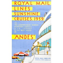 ROYAL MAIL LINES SUNSHINE CRUISES 1959 'ANDES'