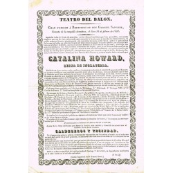 TEATRO DEL BALON. CADIZ. 1838. CATALINA HOWARD, REINA DE INGLATERRA
