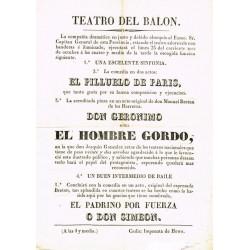 TEATRO DEL BALON. CADIZ. Ca. 1830. DON GERONIMO O SEA EL HOMBRE GORDO