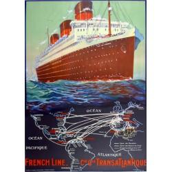 FRENCH LINE (ILE de FRANCE) Cie. Gle. TRANSATLANTIQUE...