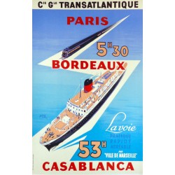 Cie Gle TTRANSATLANTIQUE PARIS bORDEAUX CASABLANCA...