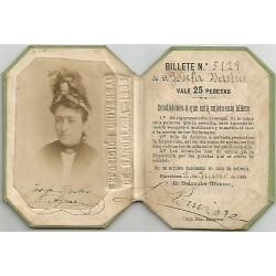 EXPOSICION UNIVERSAL DE BARCELONA 1888. PASE CON FOTOGRAFIA IDENTIFICATIVA.