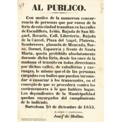 BARCELONA 1855. AL PUBLICO (Feria y circulación Barrio Gótico, Born y Sta. Mª del Mar)