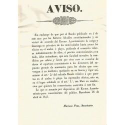 BARCELONA 1841. AVISO. GREMIO DE MAREANTES (Barqueros)