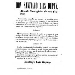 BARCELONA 1852. DON SANTIAGO LUIS DUPUY. CALLE ESCUDILLERS