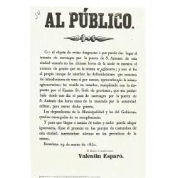 BARCELONA 1850. AL PUBLICO. PUERTA DE SAN ANTONIO.