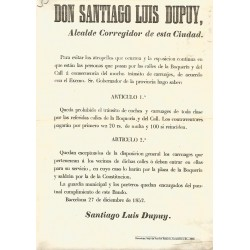BARCELONA 1852. DON SANTIAGO LUIS DUPUY. CALLE BOQUERIA Y CALL