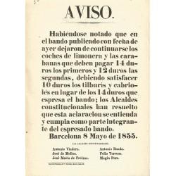 BARCELONA 1855. AVISO. (Impuestos circulaciön)