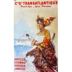 Cie. Gle. TRANSATLANTIQUE. FRENCH LINE -LINEA FRANCESA. ANTILLES... /