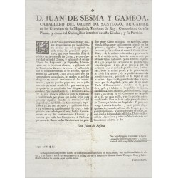 JUAN DE SESMA Y DE GAMBOA. COMANDANTE Y CORREGIDOR DE BARCELONA. 1782.