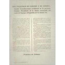 FRANCISCO DE CABANES. ALCALDE CONSTITUCIONAL DE BARCELONA 1847.CABALLERIA