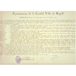 AYUNTAMIENTO VILLA DE RIPOLL. 1928. Fco. PUIG Y ALFONSO, HIJO ADOPTIVO