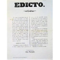 EDICTO. BARCELONA 1845. LOTERIA