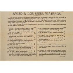 AVISO A LOS VIAJEROS. BARCELONA Ca. 1860. TARIFAS
