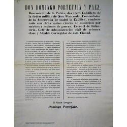 DOMINGO PORTEFAIX. ALCALDE. BARCELONA 1848. BAGAJES Y CABALLERIA
