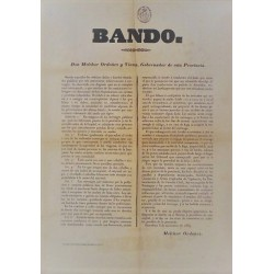 BANDO. MELCHOR ORDOÑEZ. GOBERNADOR. BARCELONA 1853. CARRUAJES