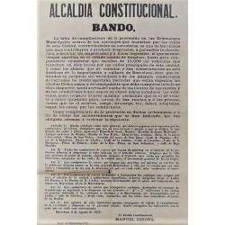 ALCALDIA CONSTITUCIONAL. BANDO. BARCELONA 1876.CARRUAJES