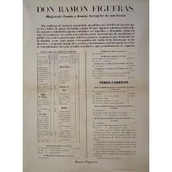 RAMON FIGUERAS. ALCALDE. BARCELONA 1857. TARIFAS COCHES DE PLAZA