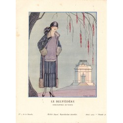 LE BELVEDERE. ROBE MANTEAU DE WORTH. GEORGES BARBIER. GAZETTE DU BON TON