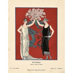 PIVOINES. ROBES DU SOIR DE WORTH. GEORGES BARBIER. GAZETTE DU BON TON