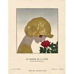 LE PARFUM DE LA ROSE. CHAPEAU DE MARTHE COLLOT. ANDRE MARTY. GAZETTE DU BON TON