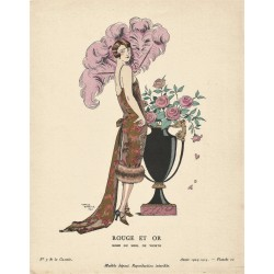 ROUGE ET OR. ROBE DU SOIR DE WORTH. GEORGES BARBIER. GAZETTE DU BON TON