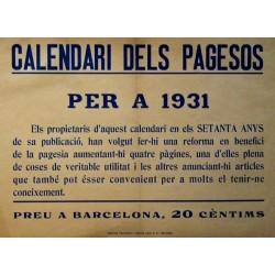 CALENDARI DELS PAGESOS PER A 1931