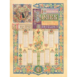 CALENDARI LITOGRAFIA BOBES ANY 1907