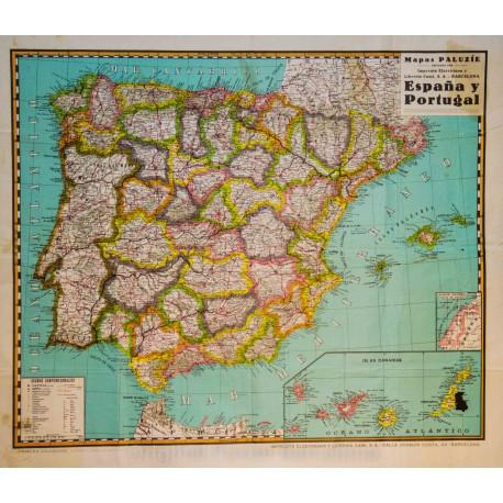 España Y Portugal Mapa.Espana Y Portugal Mapas Paluzie Original Poster Barcelona