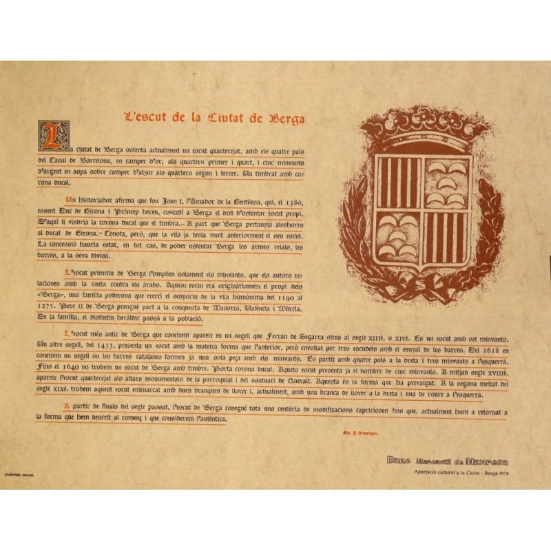 L Escut De La Ciutat De Berga Original Poster Barcelona