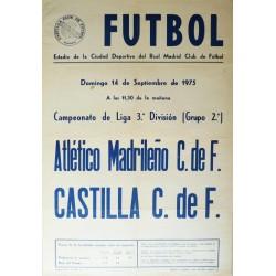 FUTBOL ATLETICO MADRILEÑO - CASTILLA 1975