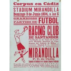 STADIUM MIRANDILLA CADIZ. RACING - MIRANDILLA. 1934