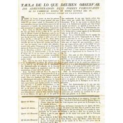 TAULA DE LO QUE DEUHEN OBSERVAR...PARROQUIAL DE NOSTRA SENYORA DEL PI...BARCELONA