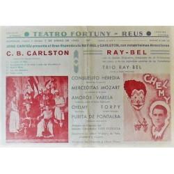REUS - TEATRO FORTUNY (CATALUÑA) 7-1/1940. ILUSIONISTA SUIZO C. B. CARLSTON / RAY-BEL