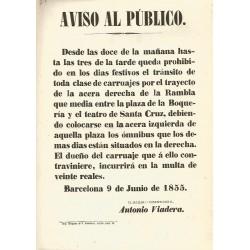 BARCELONA 1855. AVISO AL PUBLICO. RAMBLA ENTRE BOQUERIA Y SANTA CRUZ