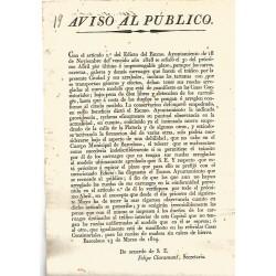BARCELONA 1829. AVISO AL PUBLICO. CALLE PLATERIA (Argenteria)