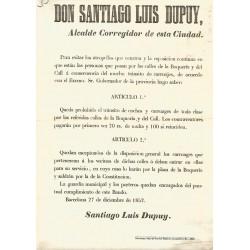BARCELONA 1852.ALCALDIA DE BARCELONA. PASEOS DE SAN JUAN Y GRACIA