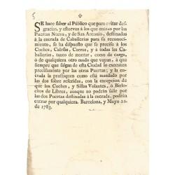 BARCELONA 1783. PUERTA NUEVA Y PUERTA DE SAN ANTONIO
