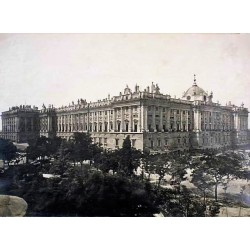 ,MADRID. EL PALACIO REAL POR LA PLAZA DE ORIENTE