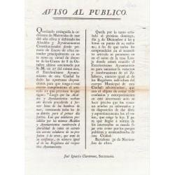 BARCELONA 1820. AVIS AU PUBLIC. NAVIGATION