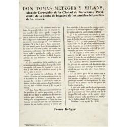 BARCELONA 1846. SACS / CAVALERIE. EDICTE DU MAIRE TOMAS METZGER