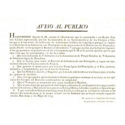 AVIS AU PUBLIC. BARCELONA1793. GUERRE AVEC LES FRANÇAIS