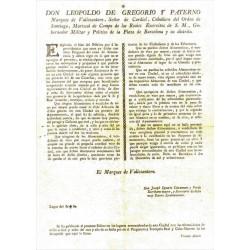LEOPOLDO DE GREGORIO. GOBERNADOR DE BARCELONA 1800. COMERCIO DE VINOS