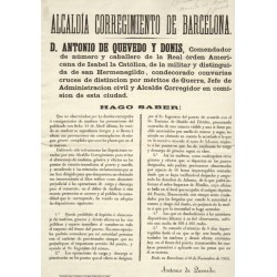 MAIRE DE BARCELONA ANTONIO DE QUEVEDO 1865. PORT.